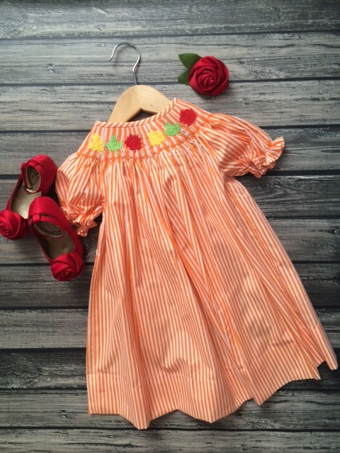 Orange Smocked Leaves Dress