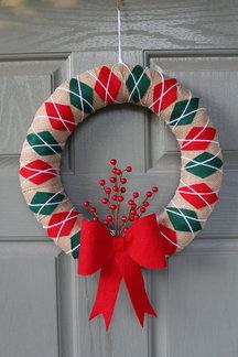 Red Green Argyle Wreath