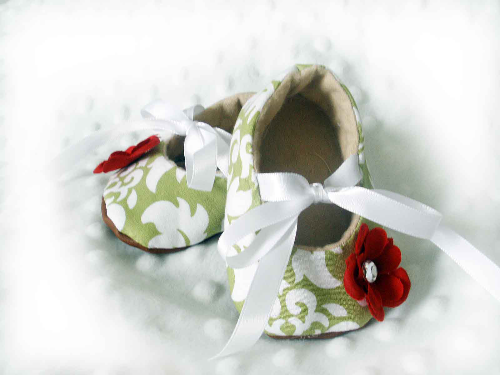 Green Damask Baby Booties