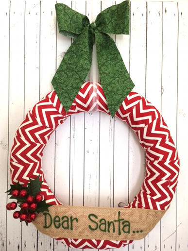 Personalized Red Chevron Wreath