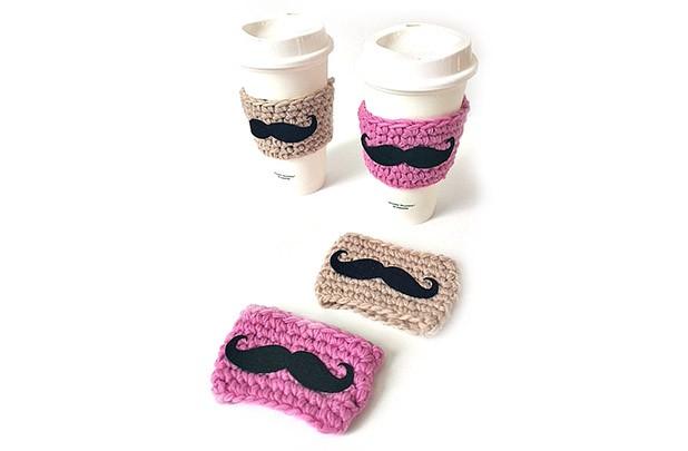 Mustache Crochet Coffee Sleeve