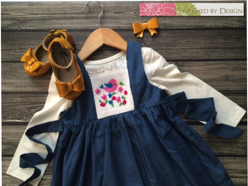 Smocked Bird Denim Dress