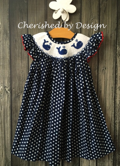 Navy Polka Dot Smocked Whale Dress