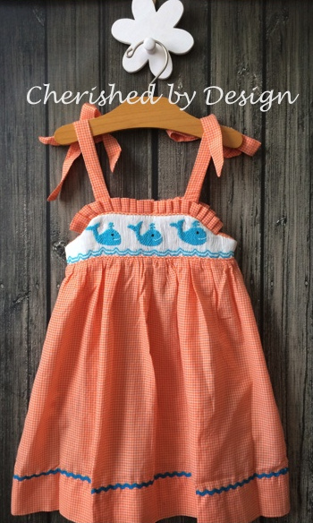 Smocked Whale Tie Dress