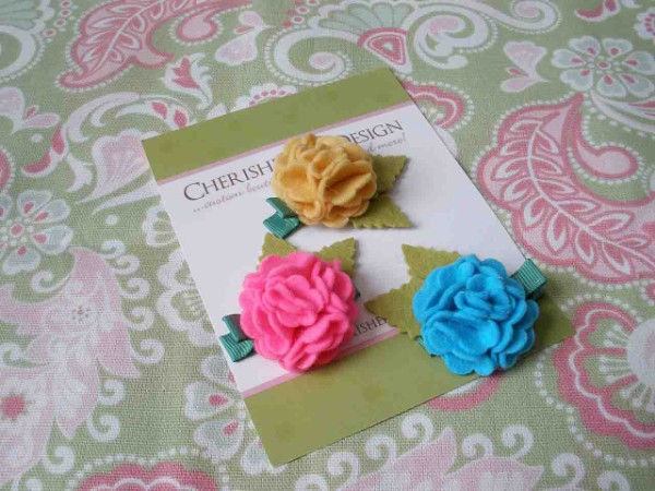 Emma Wool Felt Hair Clippies-wool felt flower hair clippies