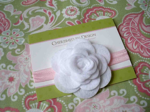 White Felt Rose Headband
