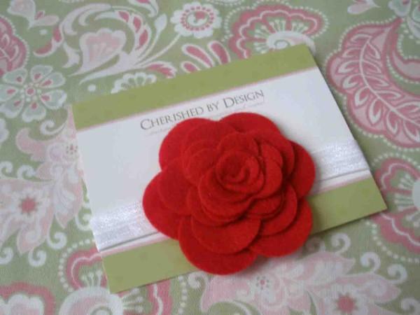 Red Felt Rose Headband