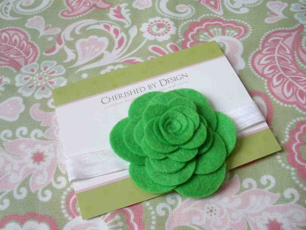 Green Felt Rose Headband