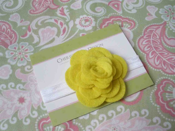 Yellow Felt Rose Headband