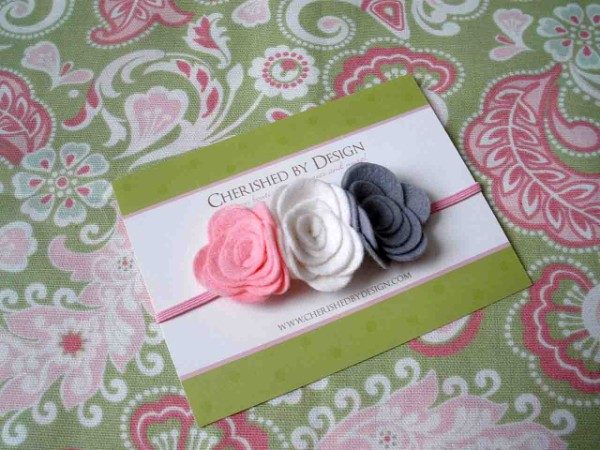 Pastel Felt Rose Trio Headband