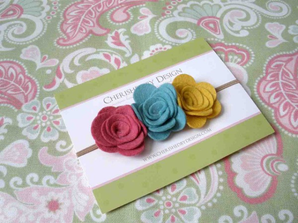 Vintage Felt Rose Trio Headband