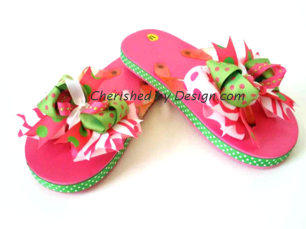 Pink Green Bow Flip Flop