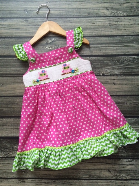 Smocked Pink Owl Dress