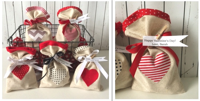 One Set of Five Personalized Valentine Bags