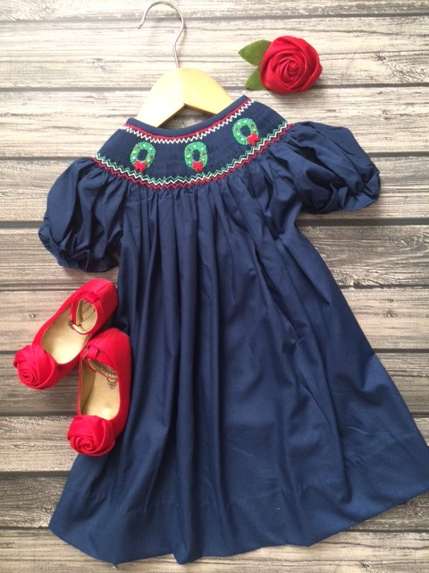 Navy Smocked Wreath Dress