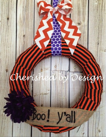 Orange/Black Stripes Wreath