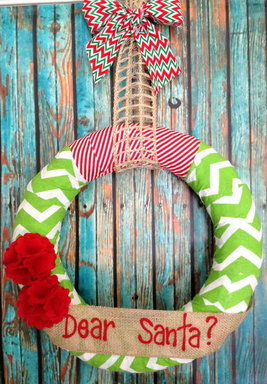 Personalized Green Chevron Wreath