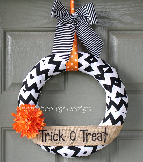 Black White Chevron Wreath