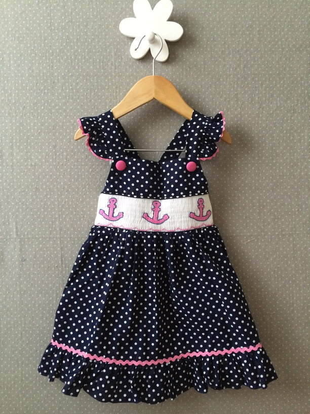 Smocked Dress Blue Anchor Dress