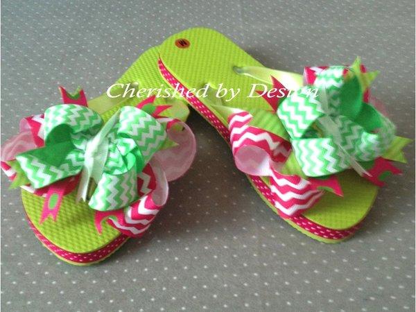 Braelyn Chevron Bow Flip Flops