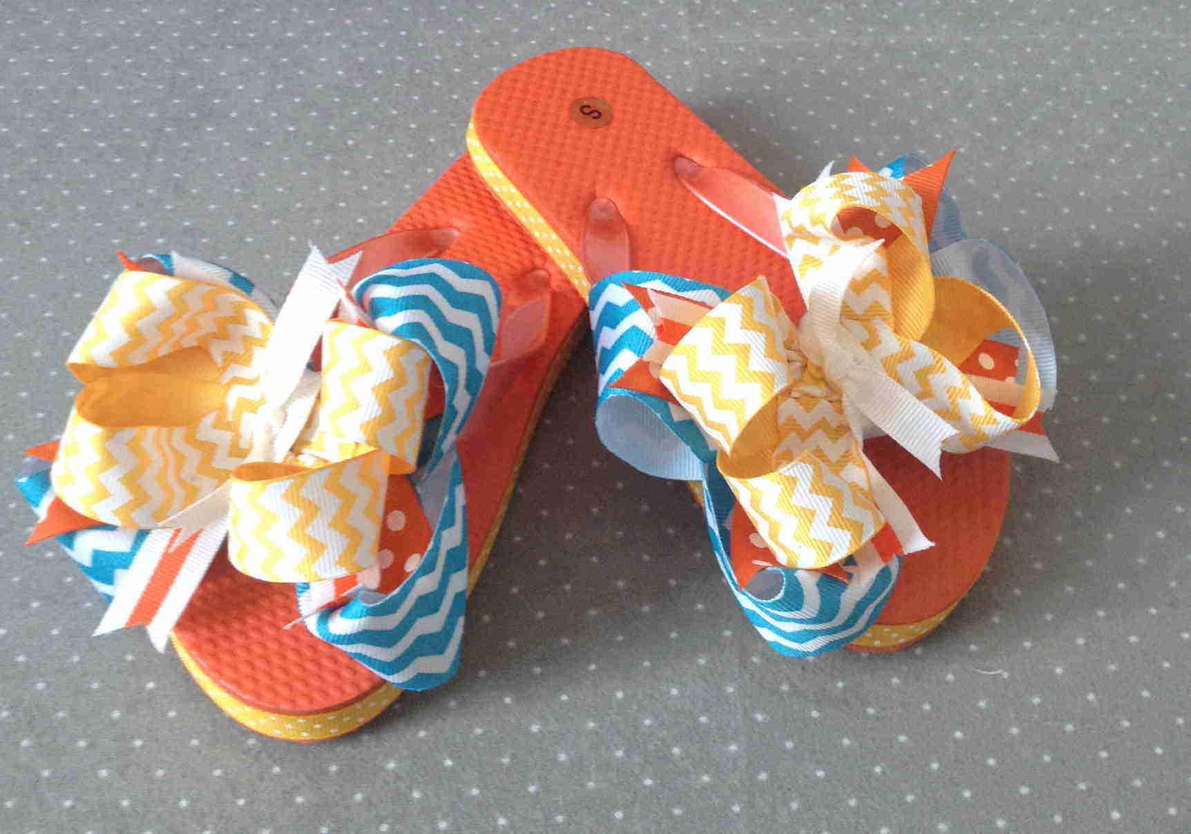Stella Chevron Bow Flip Flops