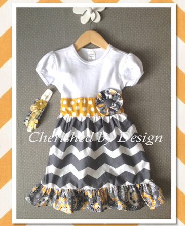 Grey Yellow Chevron Dress