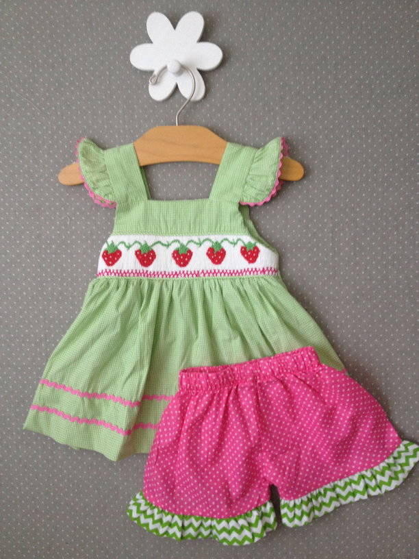 Strawberry Smocked Shorts Set