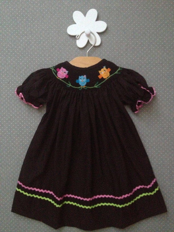 Fall Smocked Owl Bishop Dress-Smocked Bishop Dress