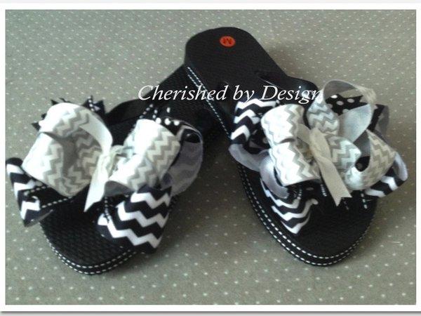 Madalynn Chevron Bow Flip Flops