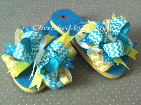 Madison Chevron Bow Flip Flops
