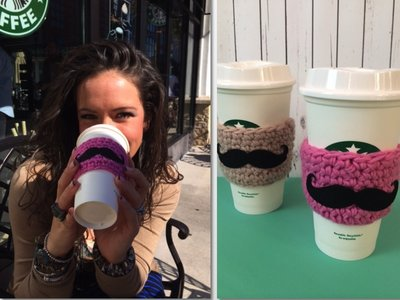 Mustache Crochet Coffee Sleeve