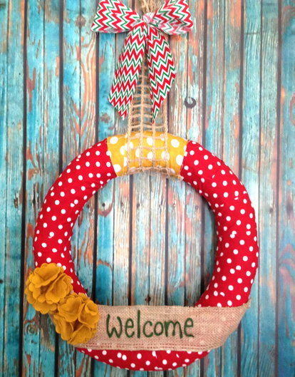 Red Polka Dot Personalized Wreath-Personalized Christmas Wreath